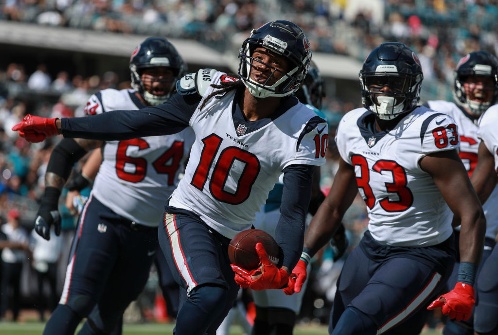 DeAndre Hopkins celebrates with the Houston Texans.