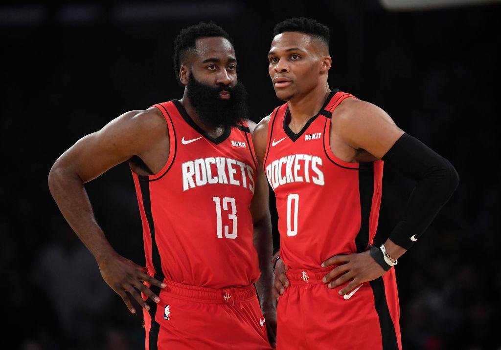 Houston Rockets teammates James Harden Russell Westbrook