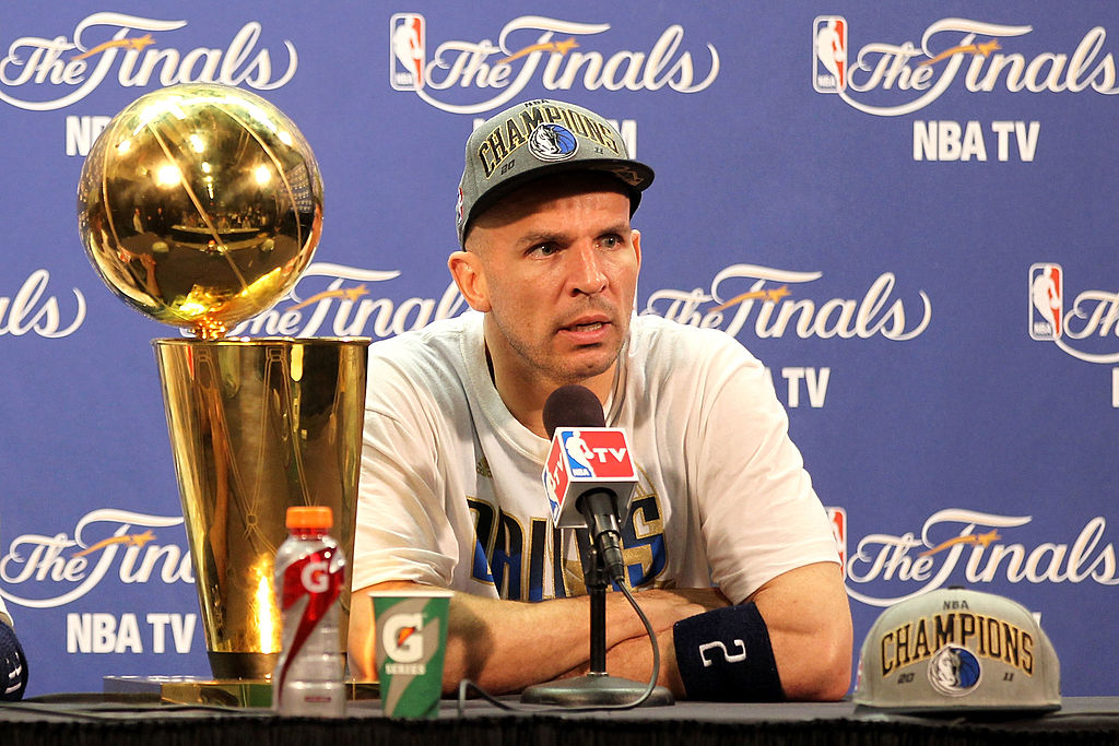 Jason Kidd talking to the media after winning an NBA Championship
