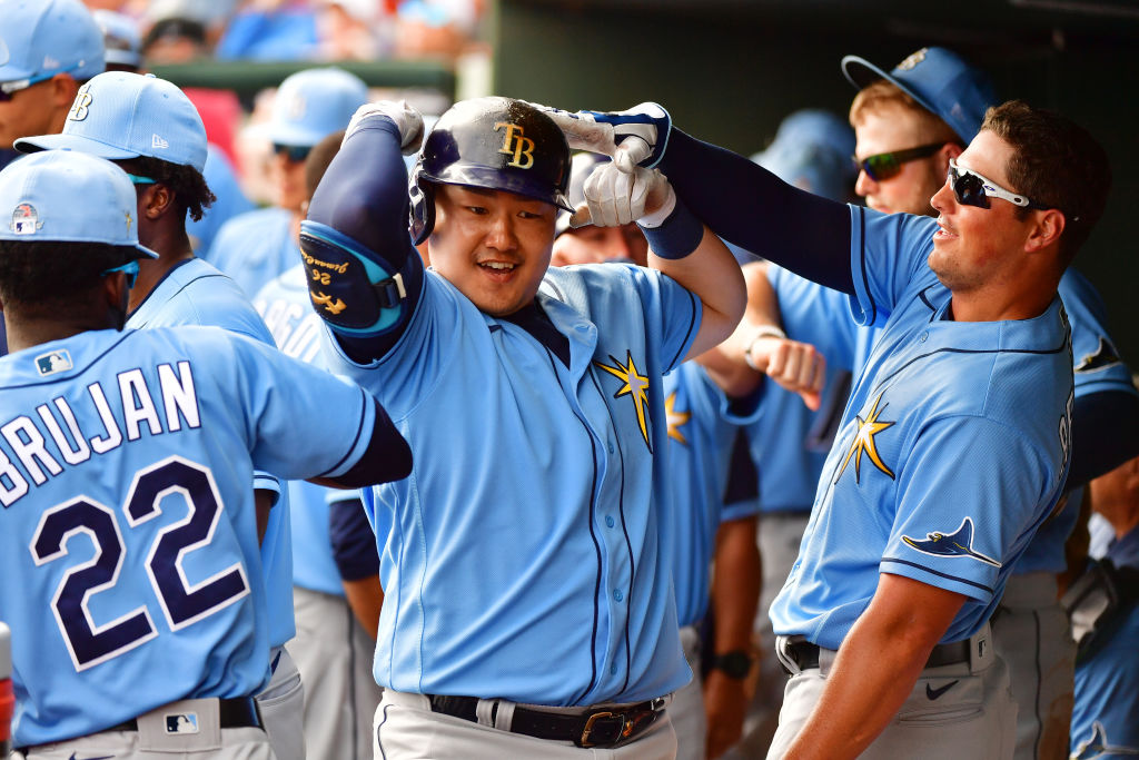 Tampa Bay Rays first baseman Ji-Man Choi (middle) had a career-high 19 home runs and 63 RBIs in 2019. I Julio Aguilar/Getty Images