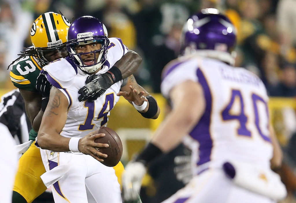 Minnesota Vikings quarterback Joe Webb started the Vikings' playoff loss to Green Bay in 2013.