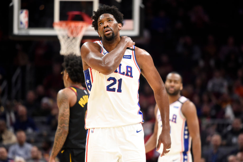Joel Embiid of the 76ers looks up during a game against the Cleveland Cavaliers.