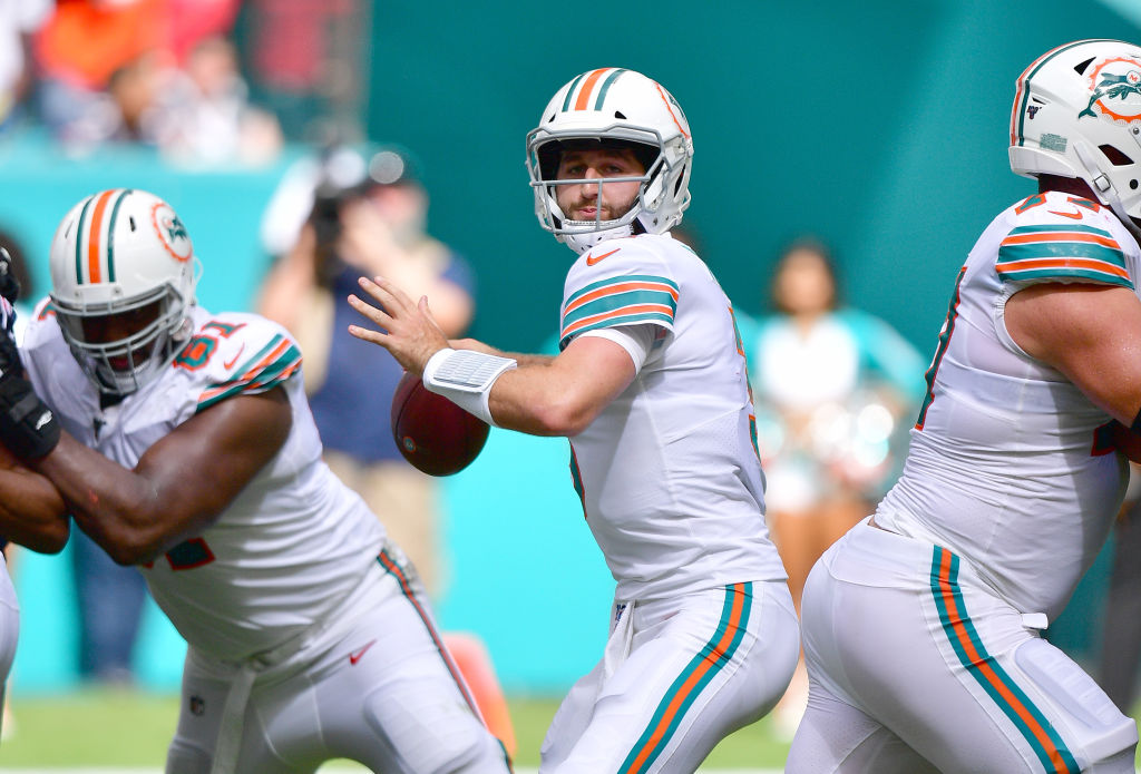 Miami Dolphins quarterback Josh Rosen threw one touchdown and five interceptions last season. The Dolphins are expected to draft a quarterback in April.