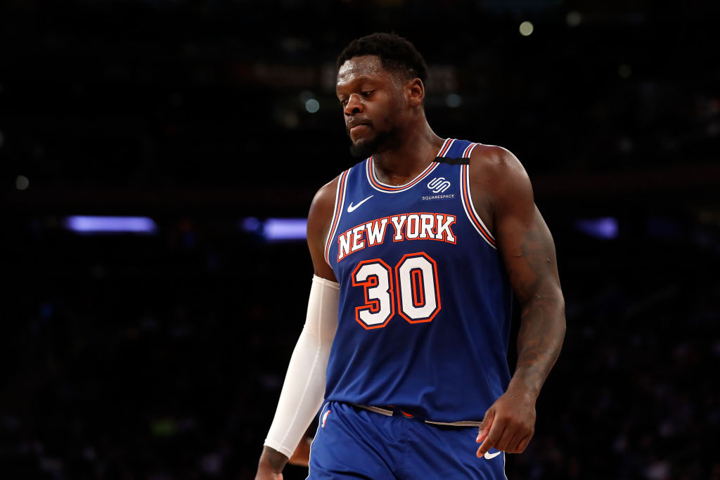 Julius Randle looks on after a play