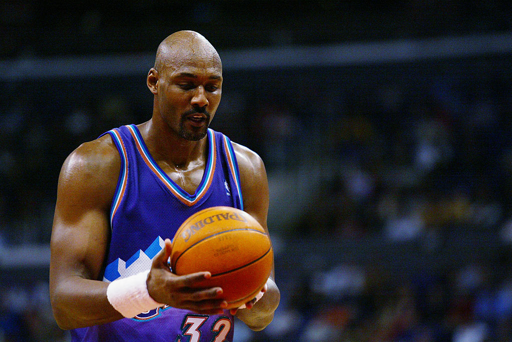 Karl Malone about to take a free throw
