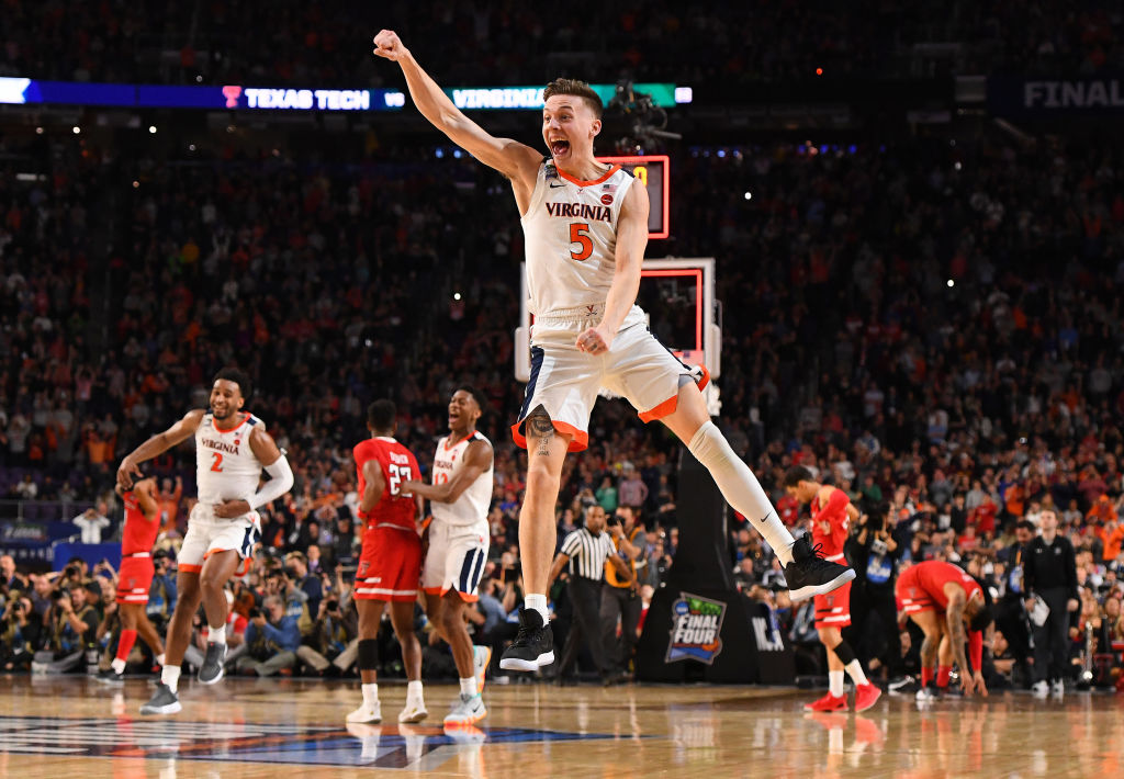 Kyle Guy of the Virginia Cavaliers celebrates winning the 2019 NCAA Tournament