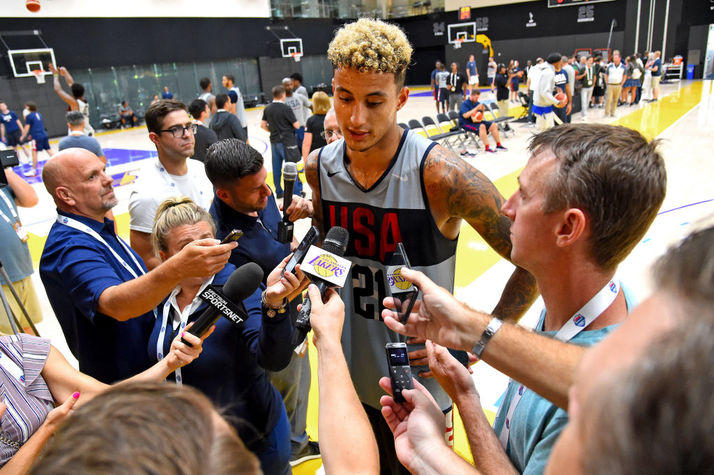 Kyle Kuzma talks to the media following the 2019 USA Men's National Team World Cup training camp