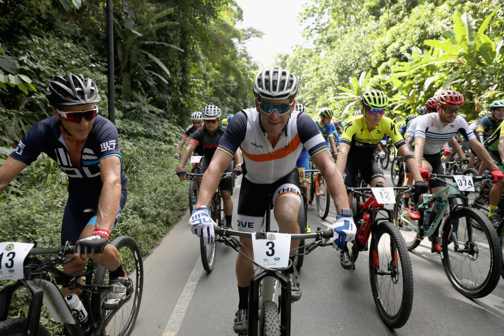 Lance Armstrong competes in a mountain bike race in Costa Rica in 2018