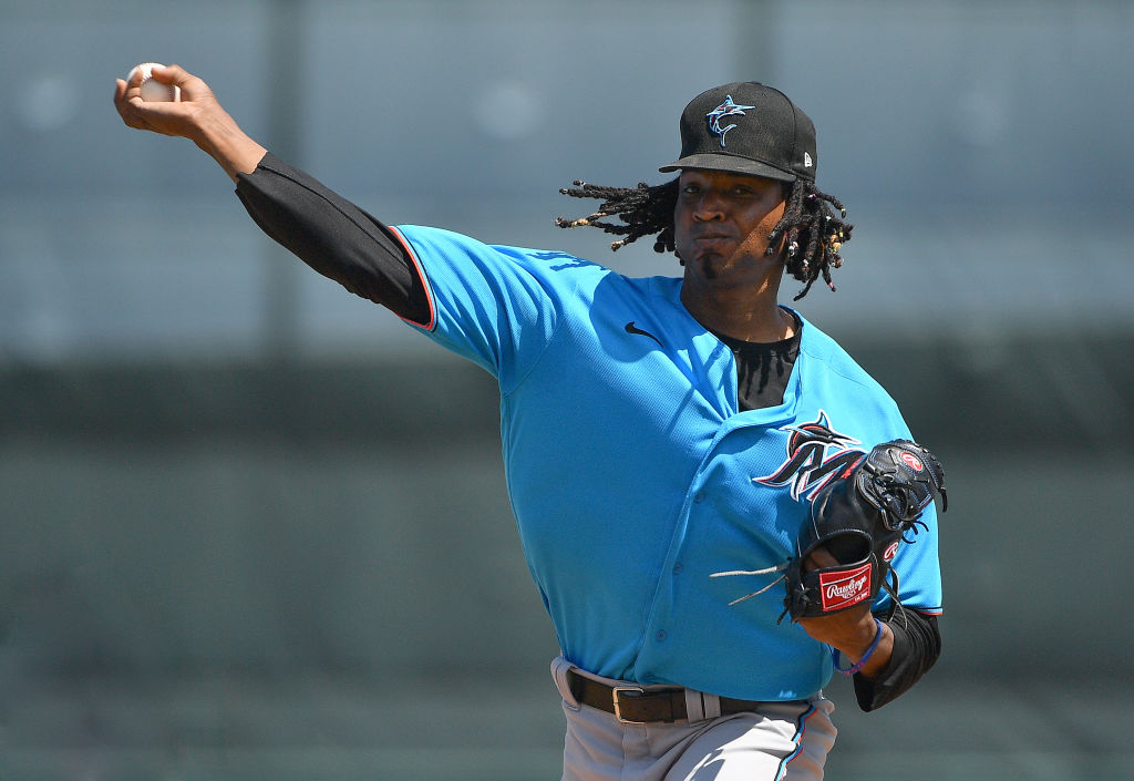 A pitcher for the Miami Marlins tries to record a strikeout