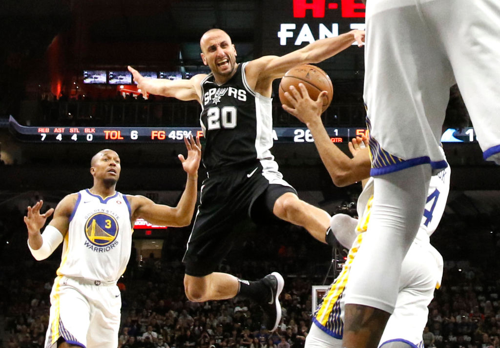 Manu Ginobili of the San Antonio Spurs is stripped of the ball