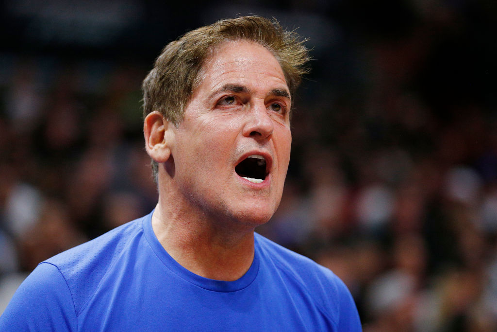 Dallas Mavericks owner Mark Cuban yells during a game