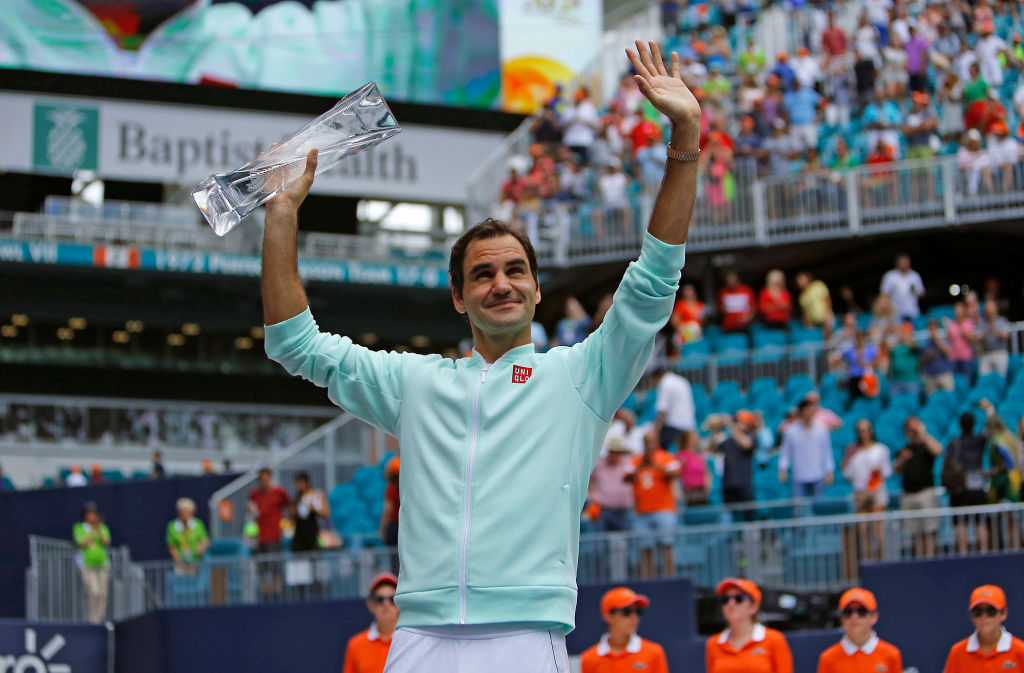 Roger Federer celebrating after winning the Miami Open