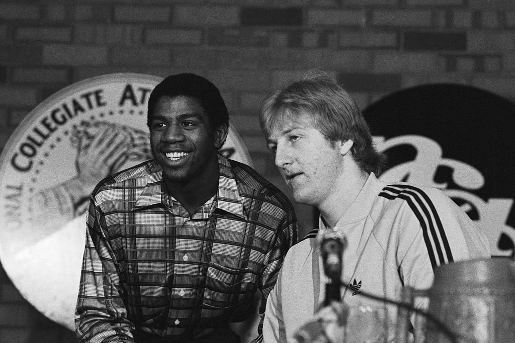 Michigan State guard Earvin Johnson and Indiana State forward Larry Bird answer questions before the 1979 Finals