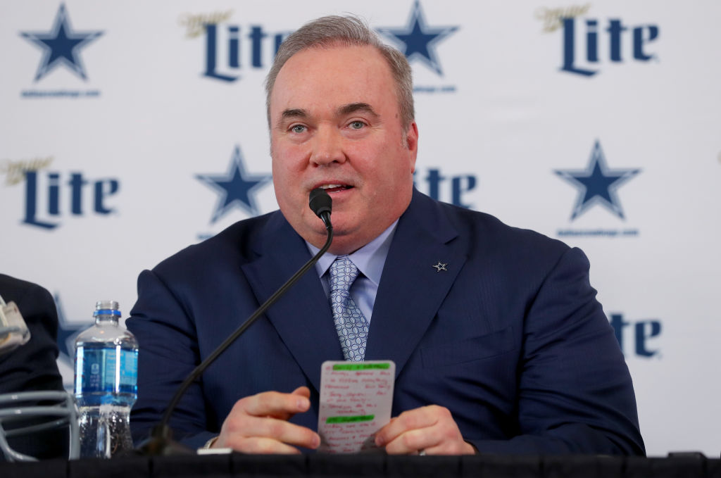 Mike McCarthy at his introductory press conference for the Cowboys