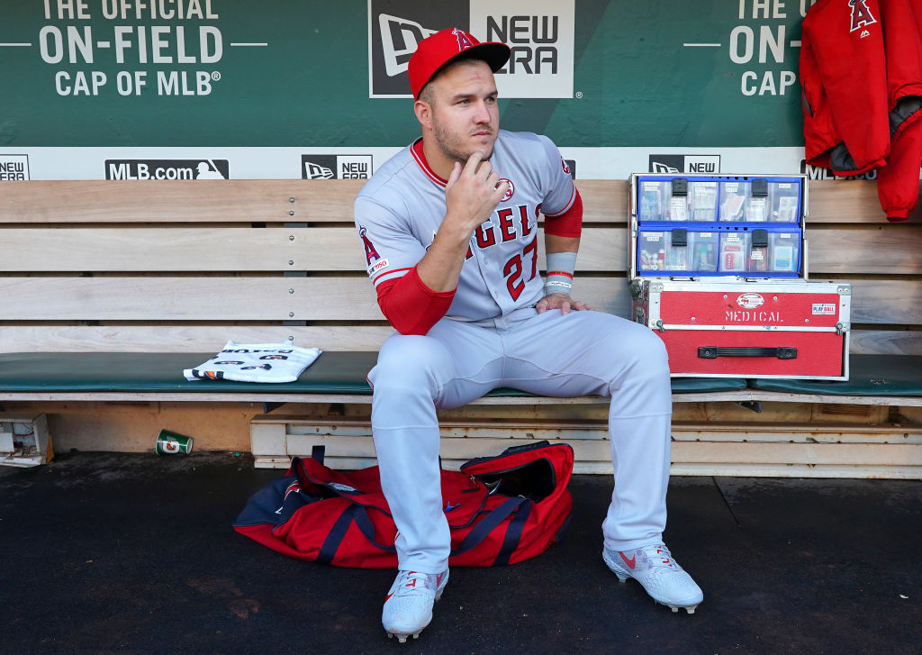 Mike Trout of the Los Angeles Angels of Anaheim sits in the dugout