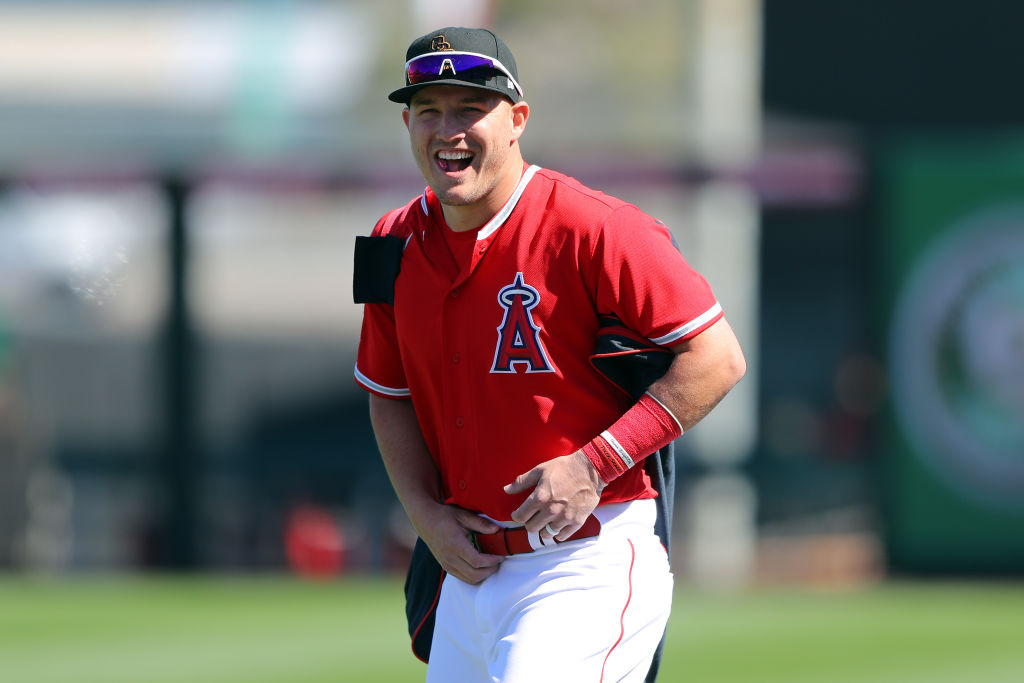 Mike Trout of the Los Angeles Angels looks on before a game