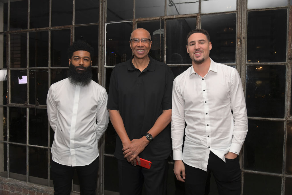 Opus Bank CMO Amondo Redmond, Mychal Thompson and Klay Thompson