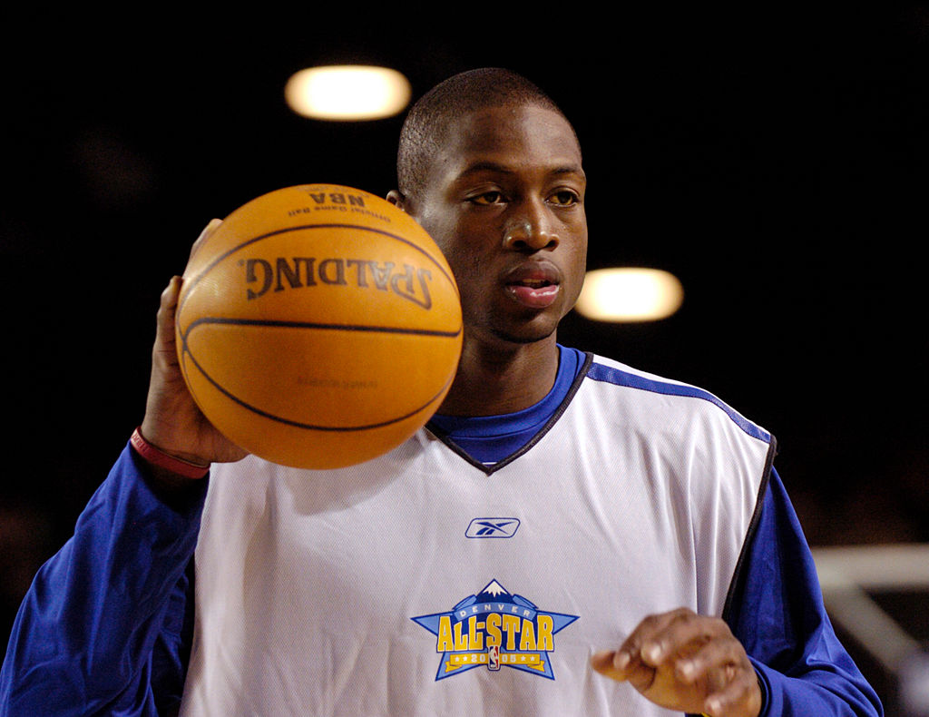 NBA All-Star Dwyane Wade of the Miami Heat at practice in 2005