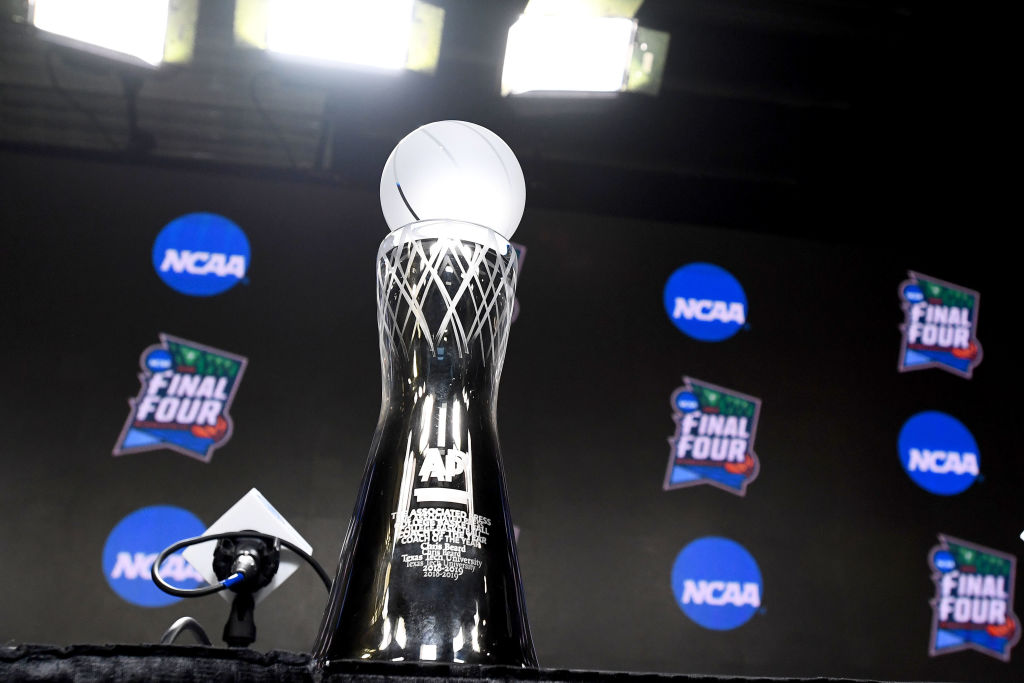 NCAA March Madness Trophy on display