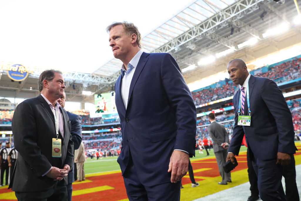 NFL Commissioner Roger Goodell looks on prior to Super Bowl LIV
