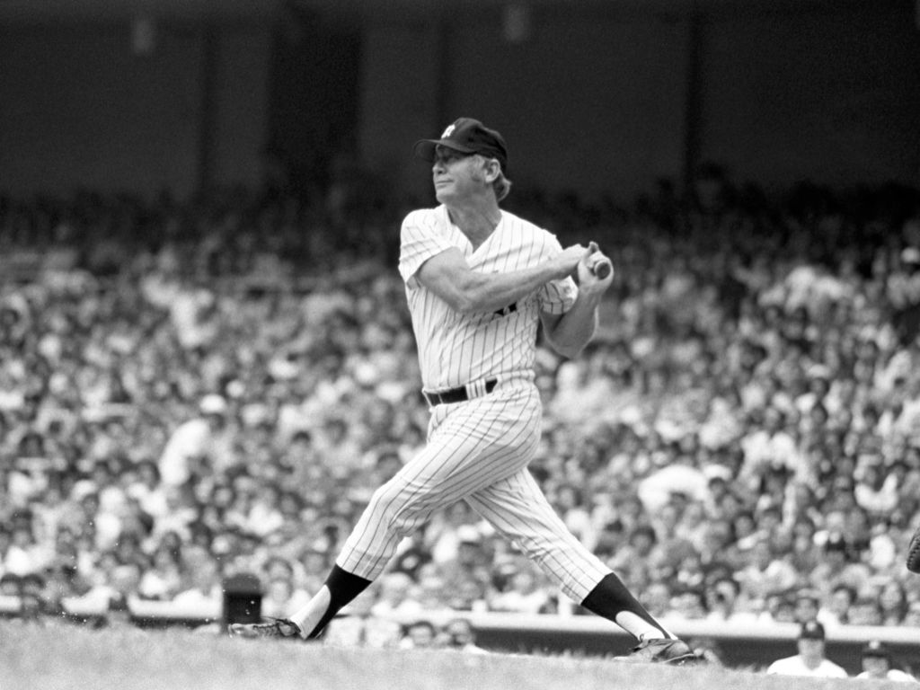 Former outfielder Mickey Mantle of the New York Yankees at bat in 1977