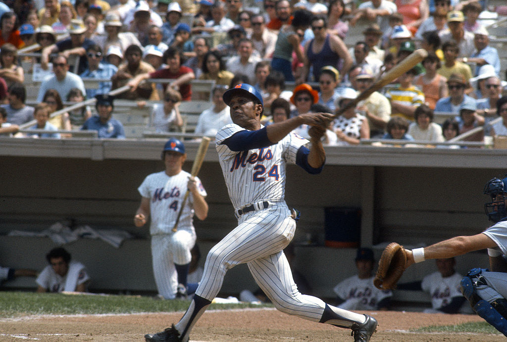 Outfielder Willie Mays of the New York Mets bats during a game in 1973