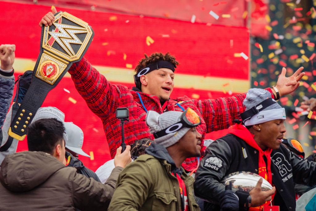 Patrick Mahomes of the Kansas City Chiefs celebrates the Chiefs' Super Bowl win