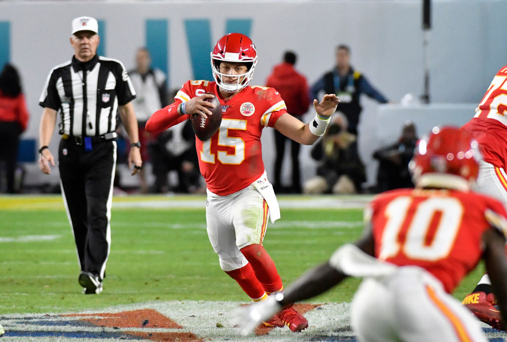 Patrick Mahomes of the Kansas City Chiefs scrambles with the ball