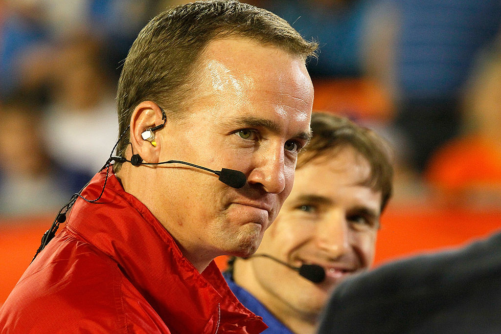 Peyton Manning with a microphone on his face
