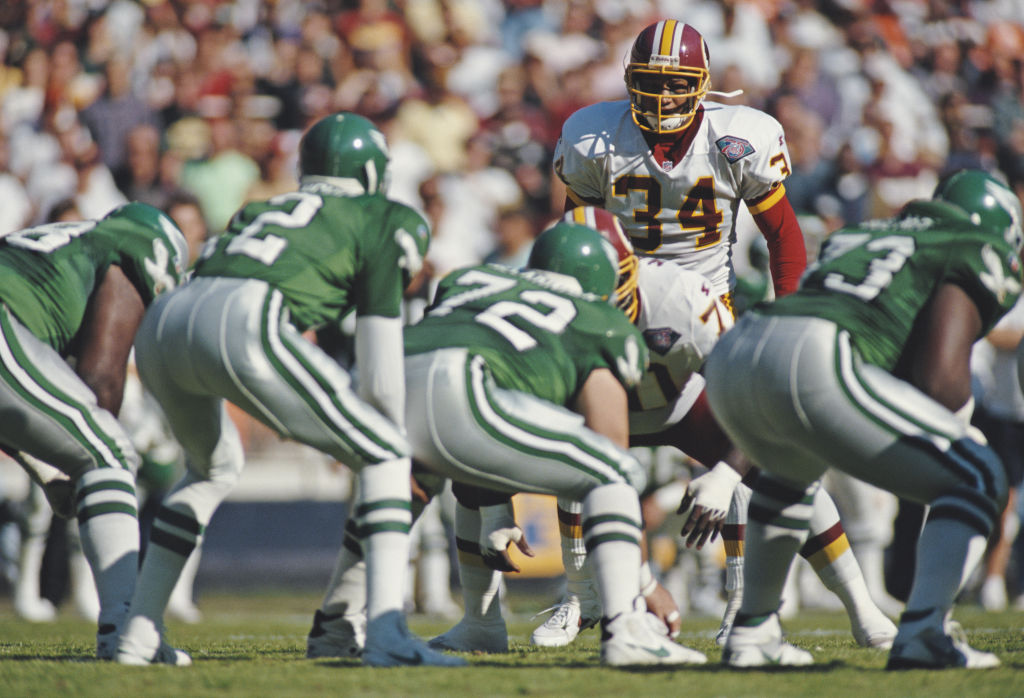 An NFL game between the Eagles and Redskins