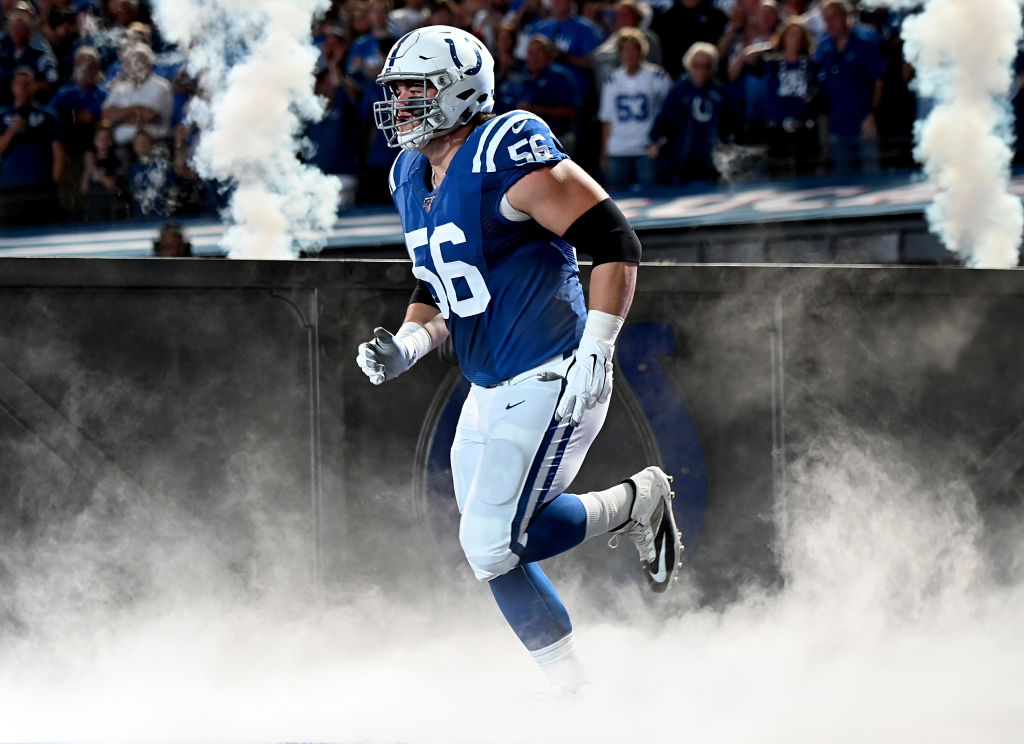 Indianapolis Colts guard Quenton Nelson runs out of the tunnel.