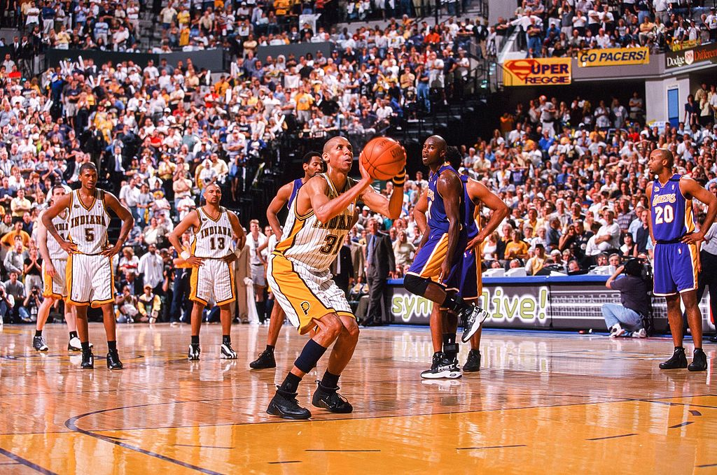 Reggie Miller of the Indiana Pacers shoots a free throw in 2000