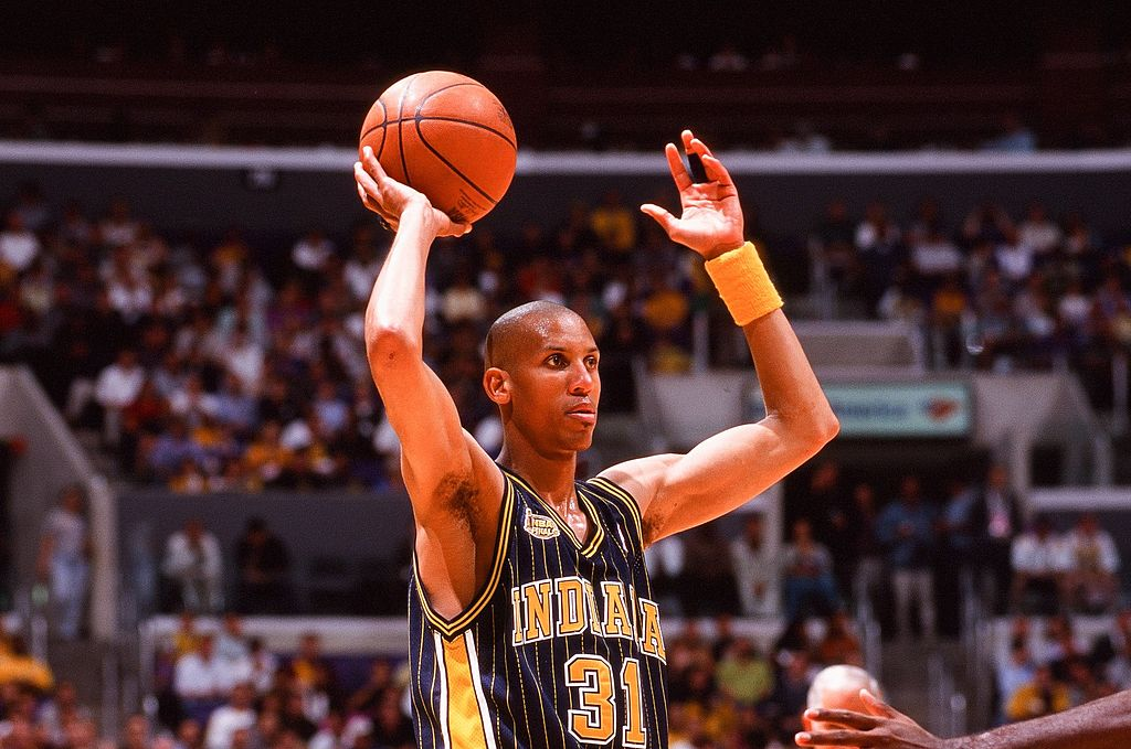 Reggie Miller holding the ball during an NBA game
