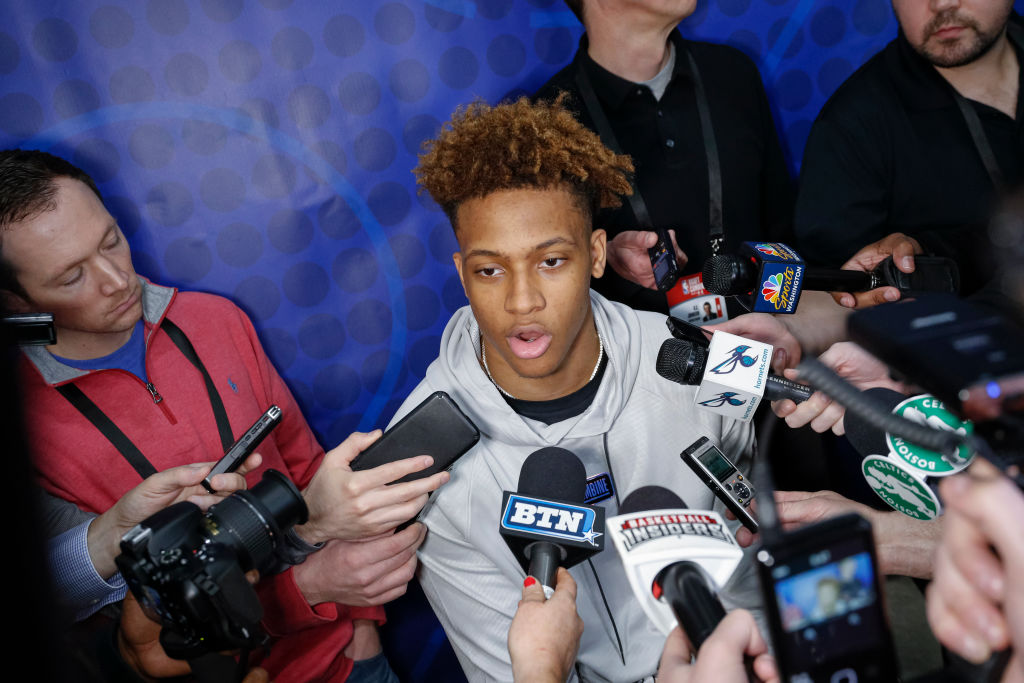 Romeo Langford of Indiana speaks to the media during the 2019 NBA Combine