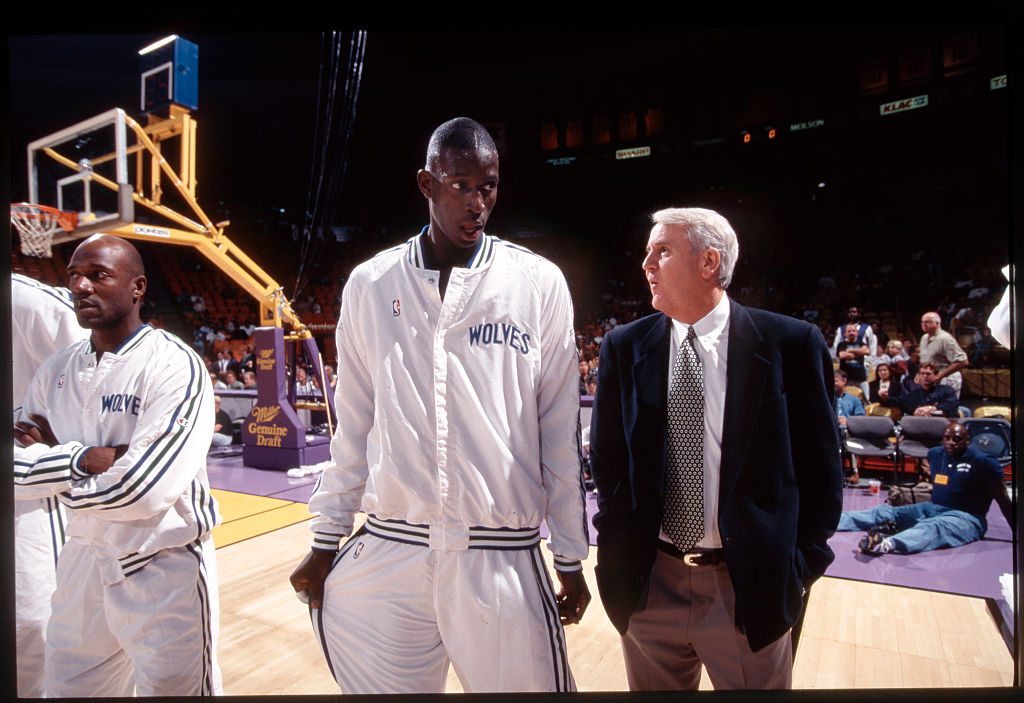 Rookie Kevin Garnett of the Minnesota Timberwolves before a 1995 game at the Staples Center