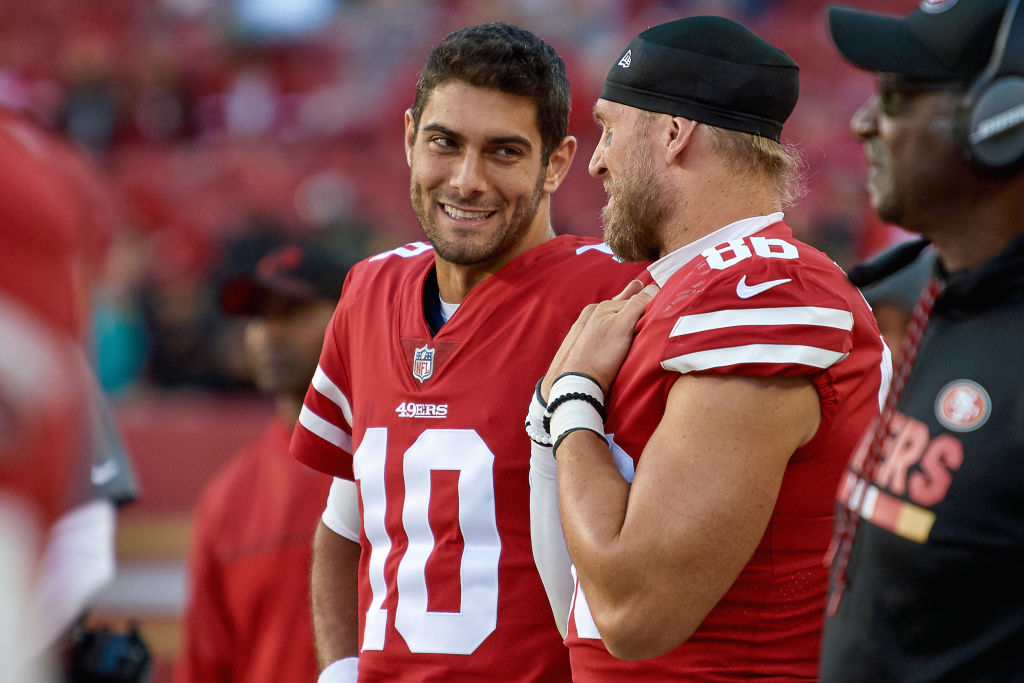 San Francisco 49ers quarterback Jimmy Garoppolo has a laugh with long snapper Kyle Nelson