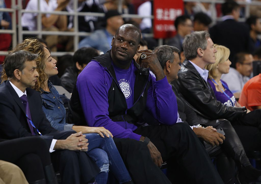NBA legend Shaquille O'Neal watches the Brooklyn Nets versus the Sacramento Kings