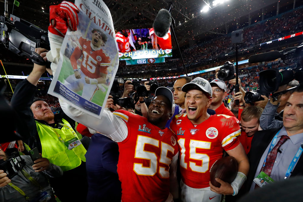 The Chiefs celebrate after winning the Super Bowl