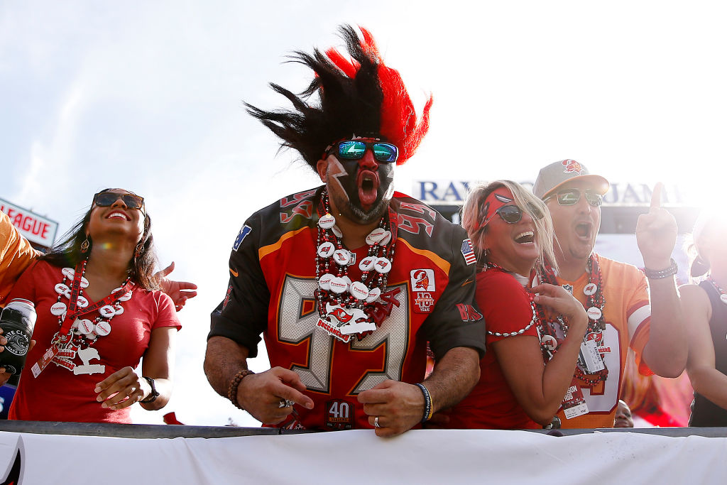 Fans of the Tampa Bay Buccaneers in the stands