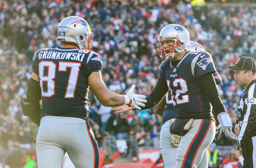 Patriots quarterback Tom Brady and Rob Gronkowski