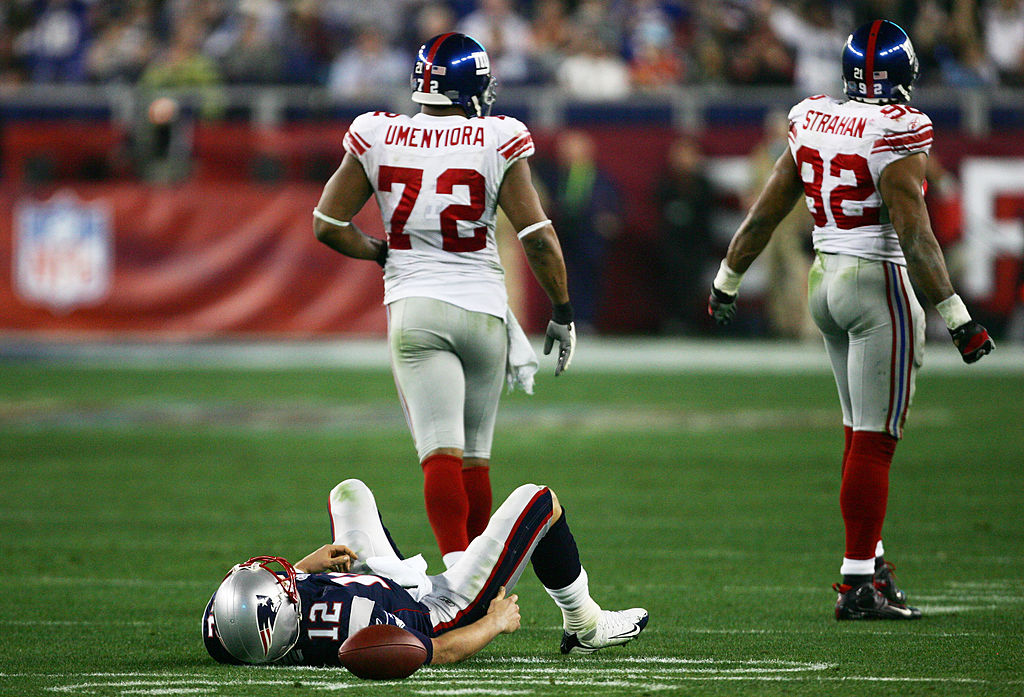 Tom Brady suffered one of his worst playoff defeats when the Giants upset the Patriots in Super Bowl XLVI.
