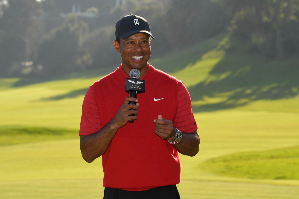 Tournament host Tiger Woods speaks after during final round of the 2020 Genesis Invitational