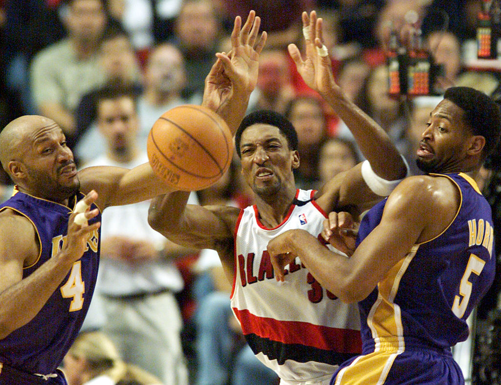 Lakers Ron Harper and Robert Horry block out Trail Blazer Scottie Pippen