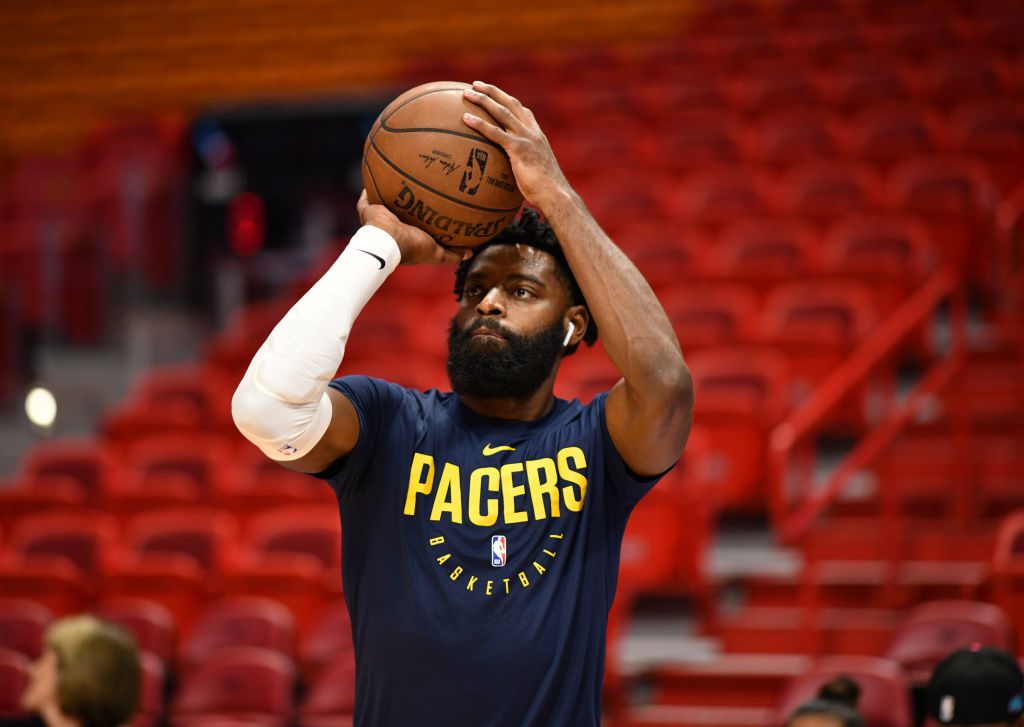 Tyreke Evans of the Indiana Pacers warms up before a game