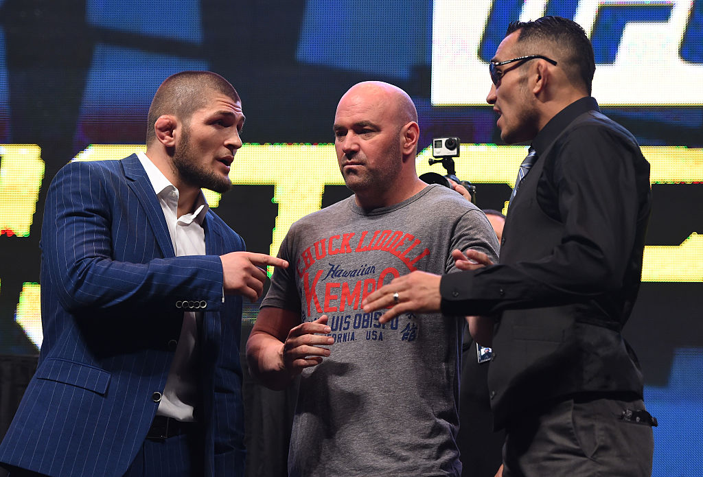 Khabib Nurmagomedov and Tony Ferguson weigh in for a UFC event