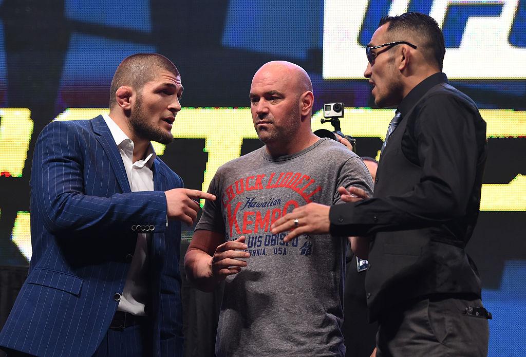 Khabib Nurmagomedov and Tony Ferguson weigh in for a UFC event