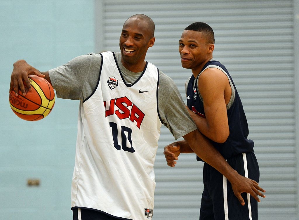 U.S. basketball players Kobe Bryant (L) and Russell Westbrook practice together in 2012