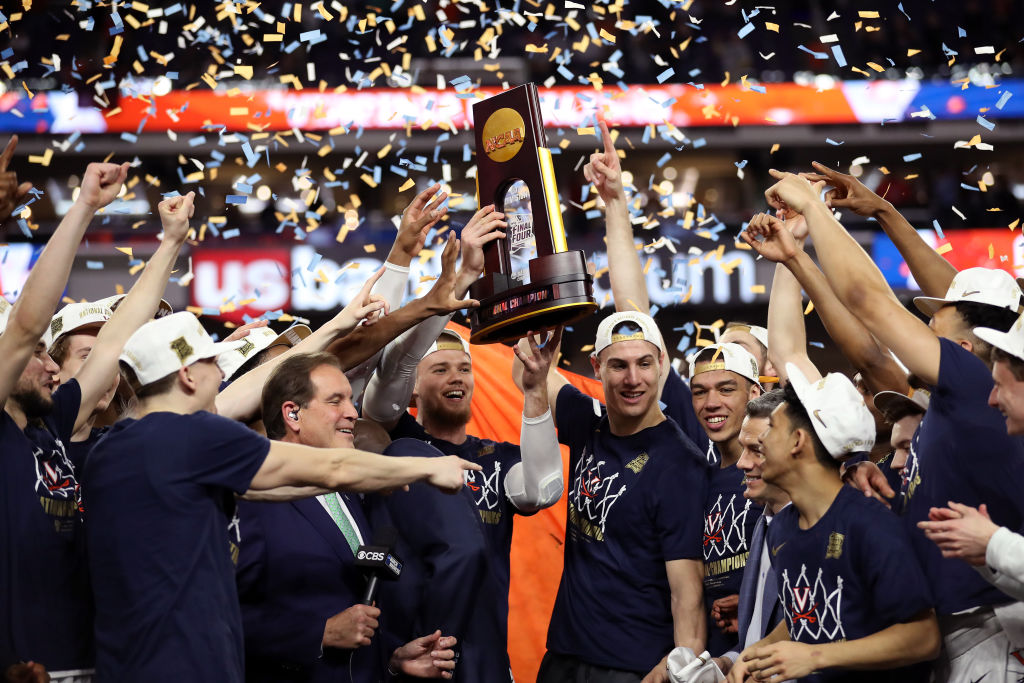 The Virginia Cavaliers celebrate winning the NCAA Tournament