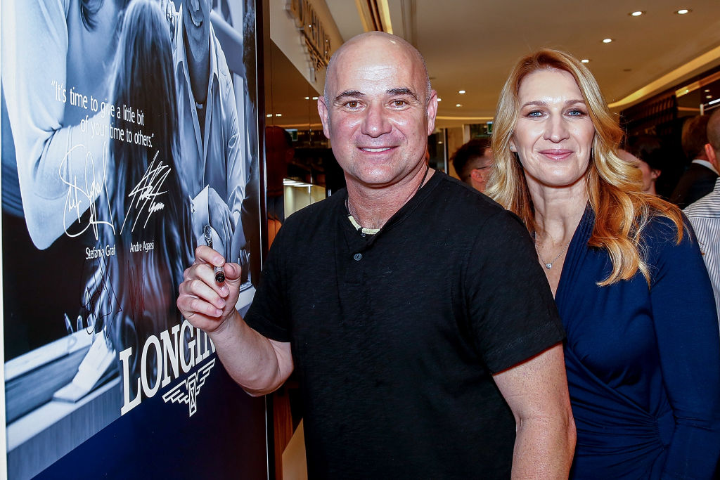 Andre Agassi and Steffi Graf attends the Longines Melbourne Boutique Launch in 2019