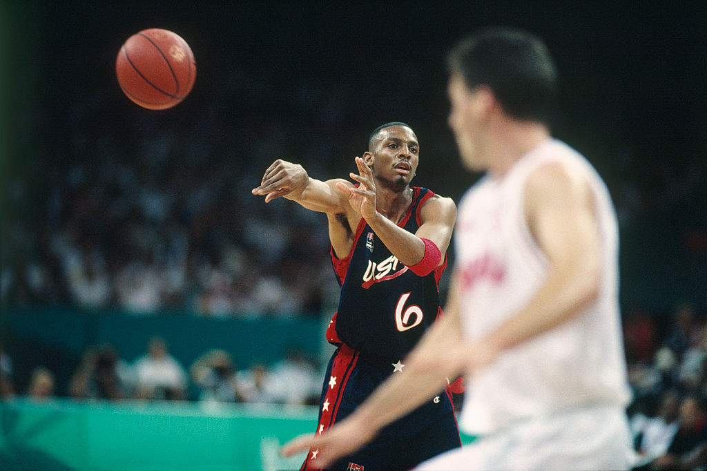 "Anfernee ""Penny"" Hardaway from USA during a game against Croatia at the 1996 Olympics"